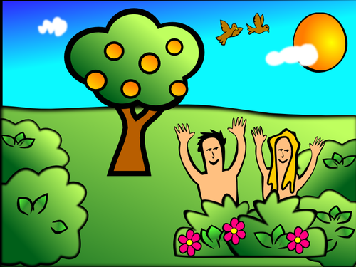 Adam & Eve in garden scenery vector illustration.