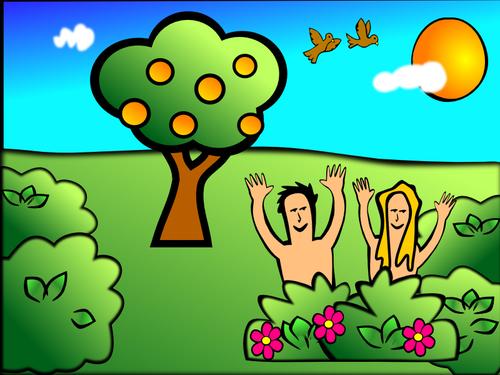 Adam & Eve in garden scenery vector illustration.