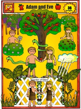 Adam and Eve in the Garden of Eden Clip Art by Charlotte\'s Clips.
