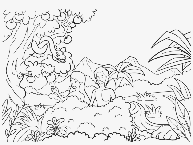 Bible Garden Of Eden Adam And Eve Coloring Book Child.
