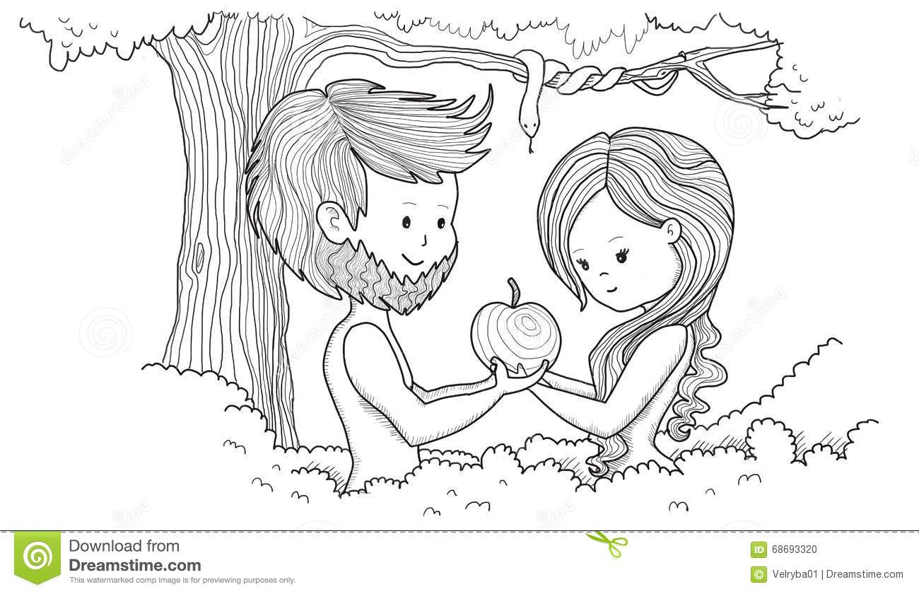 Adam and Eve stock illustration. Illustration of children.