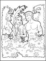 Adam and Eve Colour Picture.