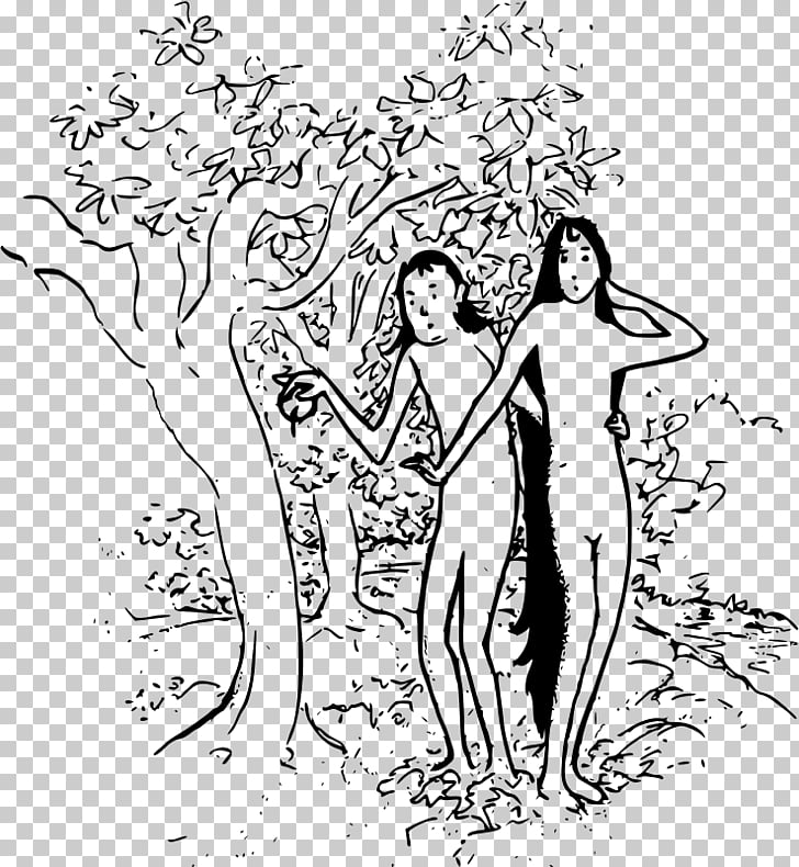 Garden of Eden Adam and Eve Cartoon , creation of adam PNG.