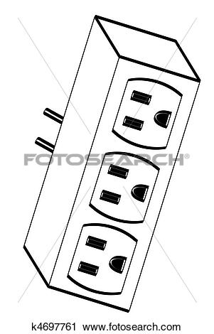 Clipart of electrical outlet adapter k4697761.