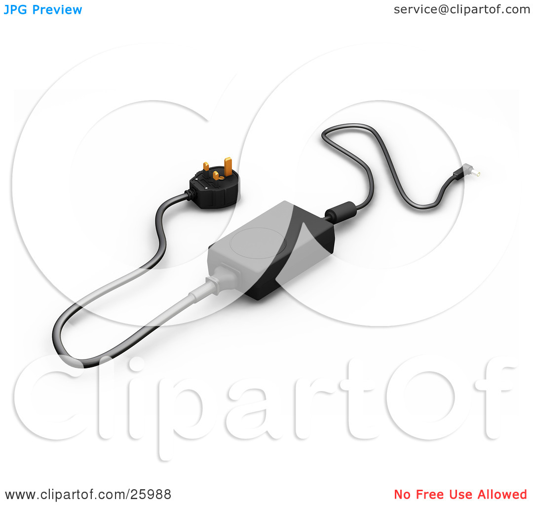 Clipart Illustration of a Black English Power Supply Adapter With.