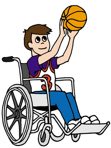 Image for Basketball With Wheelchair Person Sport Clip Art.