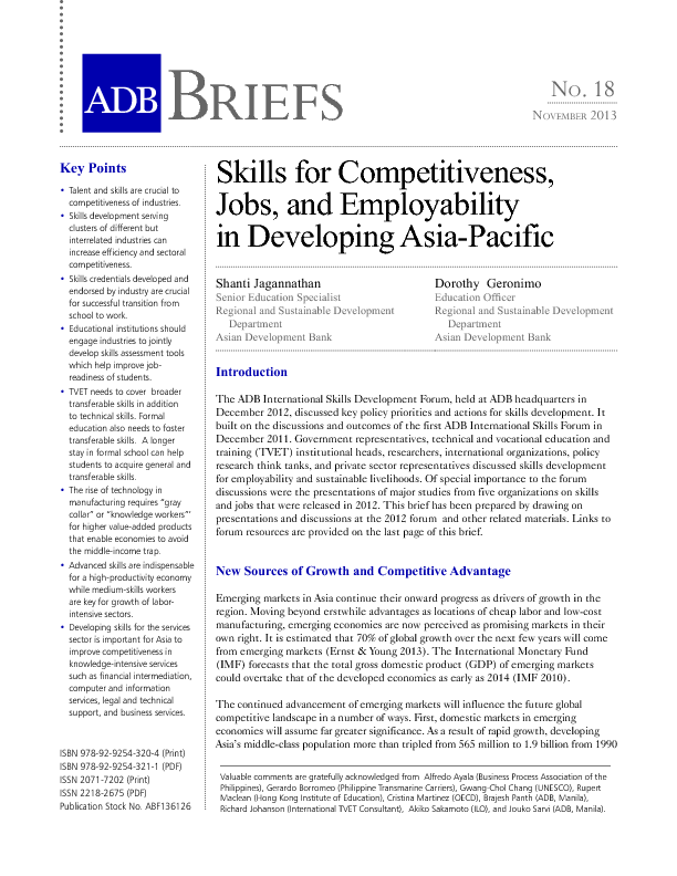 Skills for Competitiveness, Jobs, and Employability in Developing.