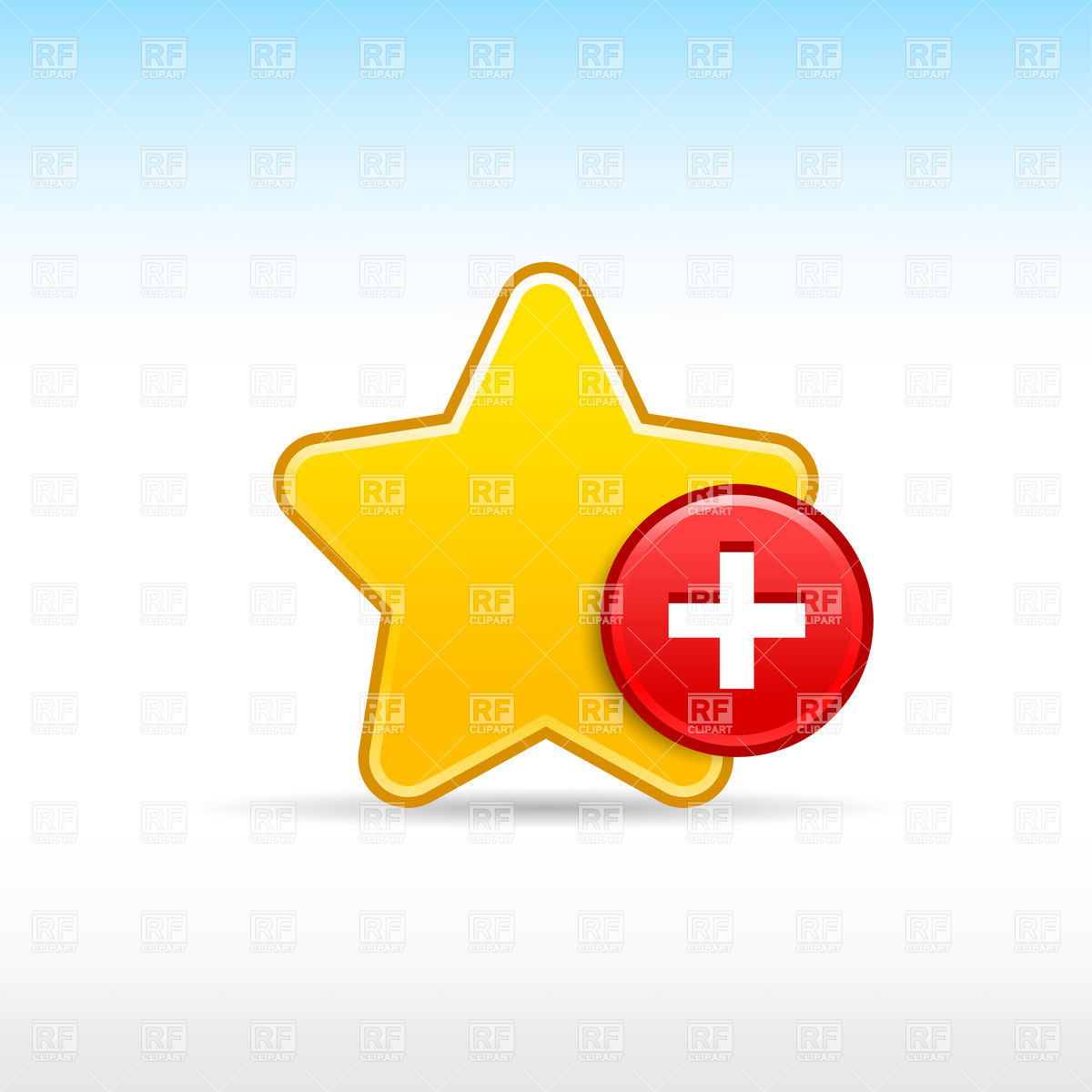 Yellow star with plus.