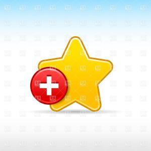 Exclusive Yellow Star With Plus Add To Bookmark Icon Vector.