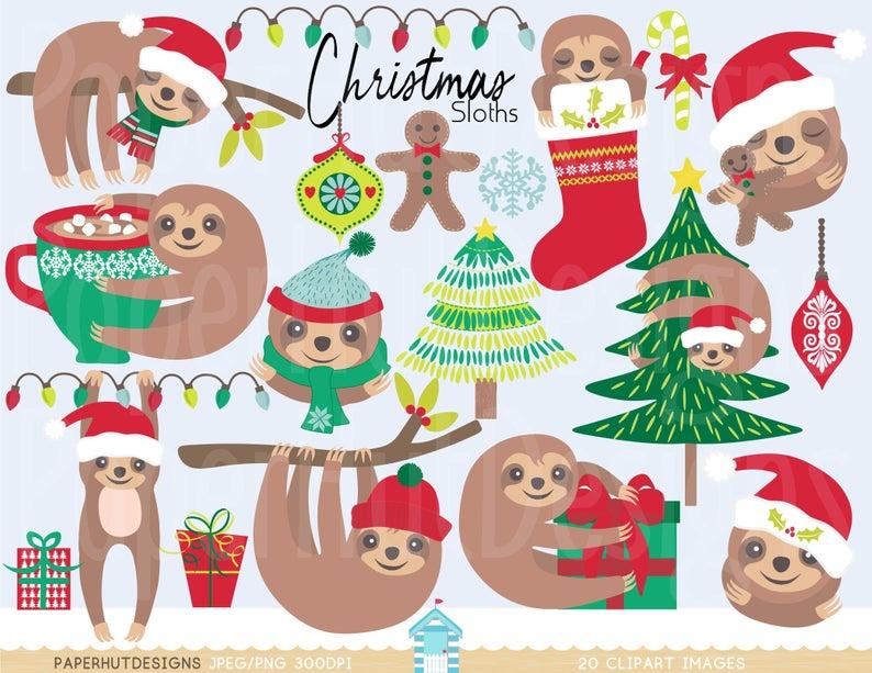 Christmas Clipart Sloth.