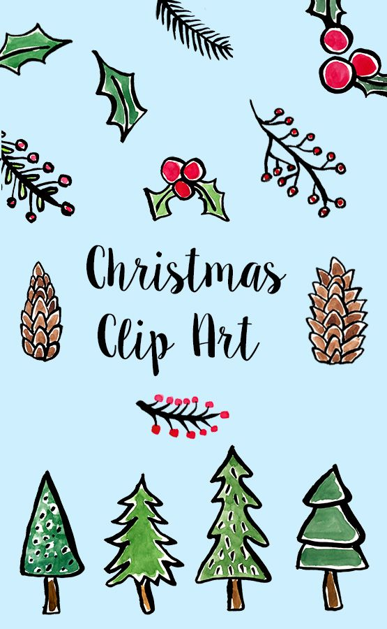 Watercolor Clipart Christmas.
