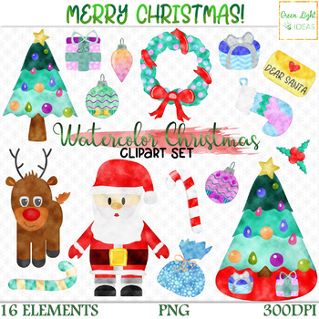Watercolor Christmas Clipart, Christmas Clip Art, Holiday Clipart, Xmas  Graphics.