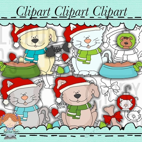 A Pet For Christmas Clipart Bonus FREE Lineart Line Art.