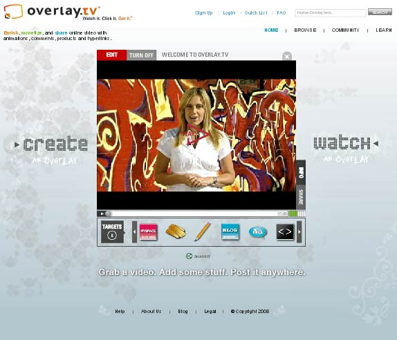 Overlay.TV: Add Text, Clip Art and Hyperlinks to any Web Video.
