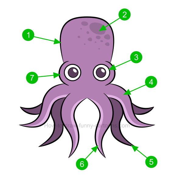 How to draw an octopus clip art.