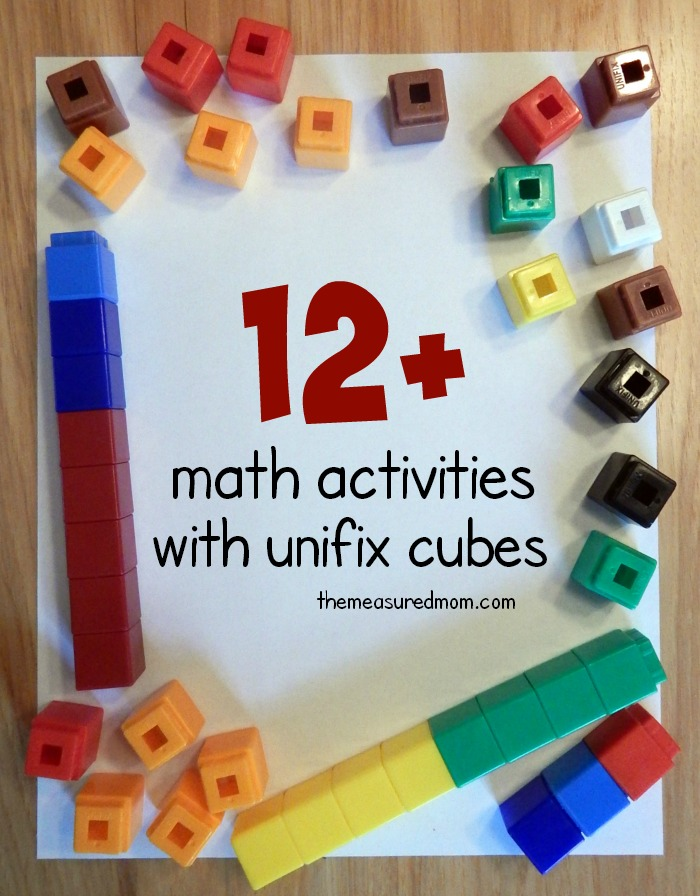 Math activities with unifix cubes.