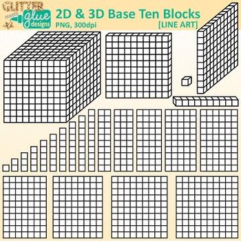 Base Ten Blocks & Cubes Clip Art: 2D & 3D Manipulatives B&W {Glitter Meet  Glue}.