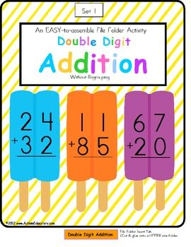 FREE File Folder Game Double Digit Addition Without.