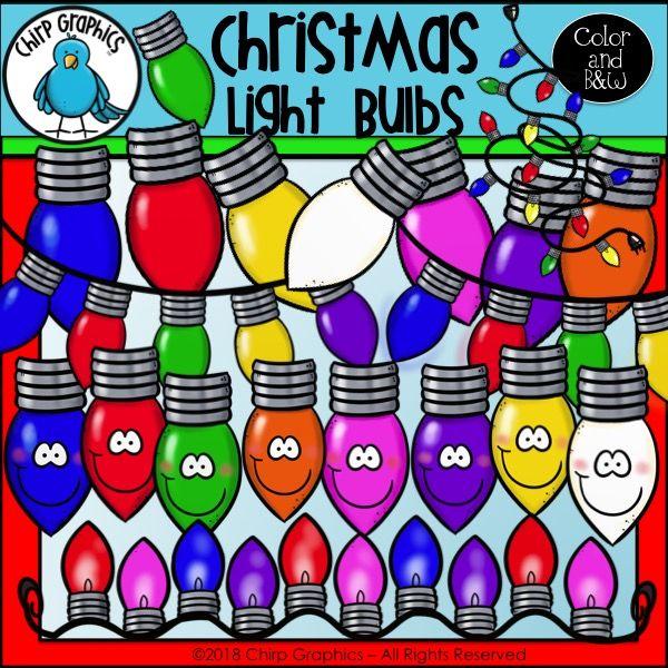 Christmas Light Bulbs Clip Art Set.