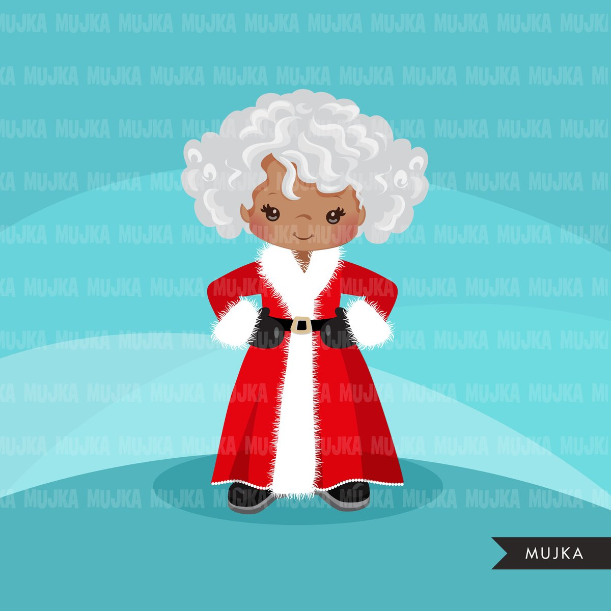 Black Mrs Santa Clipart, Christmas Graphics, Santa\'s wife, noel  illustrations, scrapbooking, commercial use Holiday graphics.