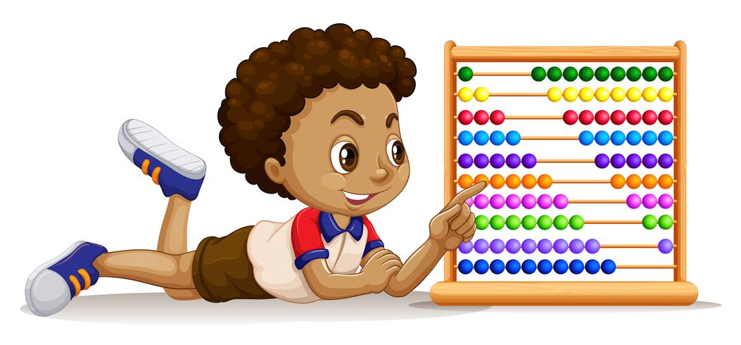 Boy with an abacus.