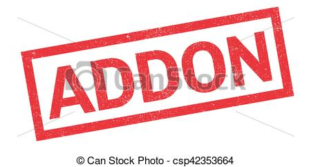 Clip Art Vector of Addon rubber stamp. Grunge design with dust.