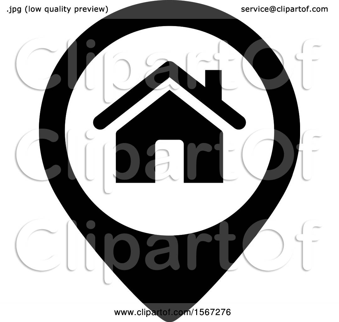 Clipart of a Black and White Home Address Icon.