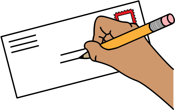 Someone Writing On An Envelope Clipart.