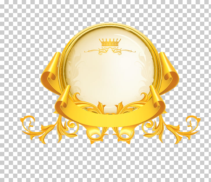 Gold Icon, Gold, round beige and gold with crown logo.