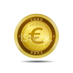 Euro Currency Sign Gold Coin Vector Icon Clipart Image.