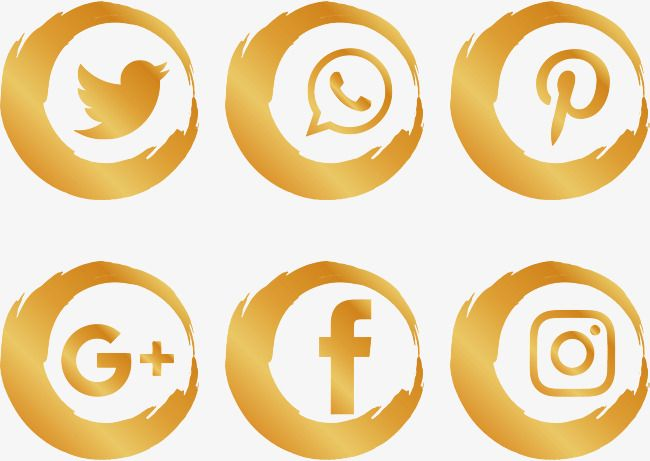 Gold Brush Social Icons Brush Effect, Vector Png, Gold.