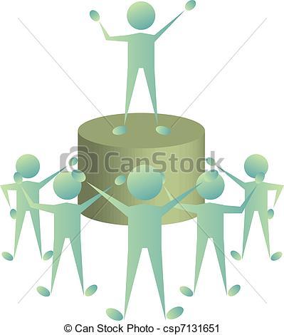 Vector Clip Art of leader addressing.