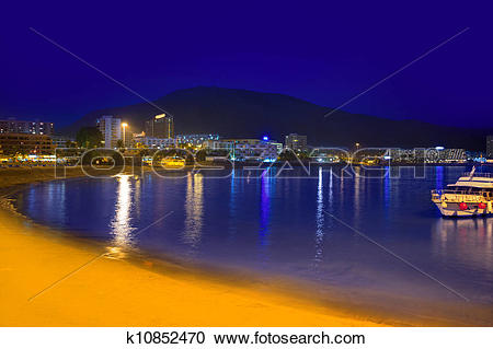 Stock Photography of Beach los Cristianos night view in Tenerife.