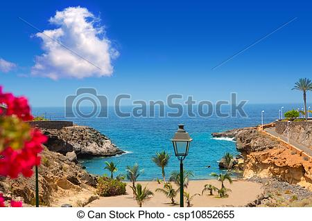 Stock Images of Beach Playa Paraiso costa Adeje in Tenerife at.