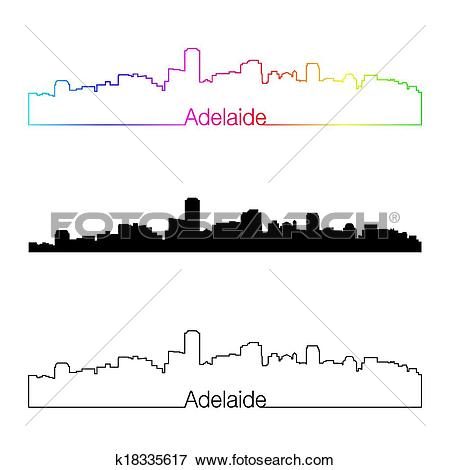 Clip Art of Adelaide skyline linear style with rainbow k18335617.