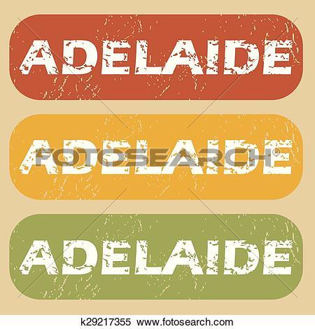 Clipart of Vintage Adelaide stamp set k29217355.
