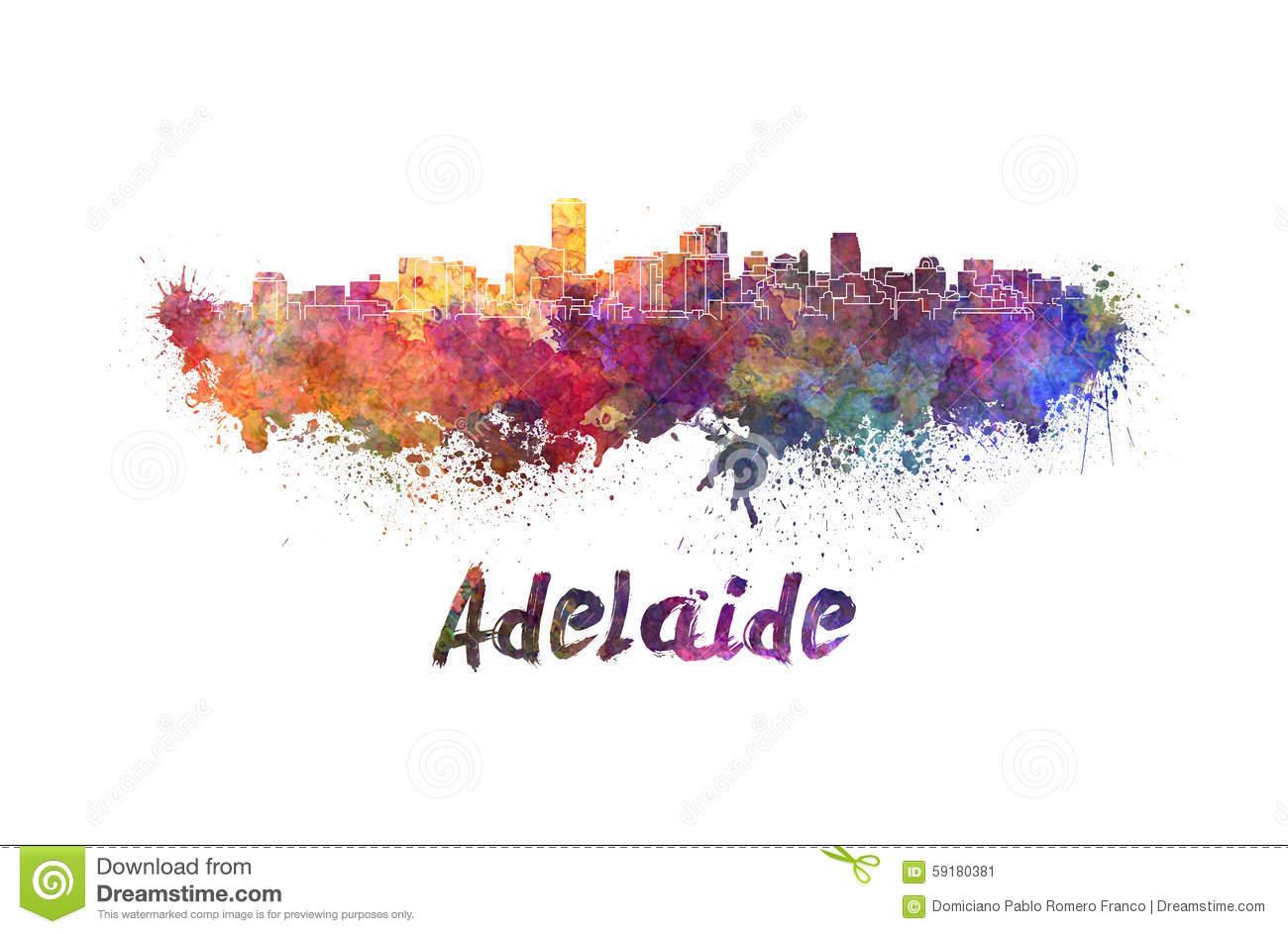 Adelaide Skyline In Watercolor Stock Illustration.