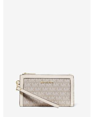 MICHAEL Michael Kors MICHAEL Michael Kors Adele Logo Jacquard Smartphone  Wallet Natural ONE SIZE from Michael Kors.