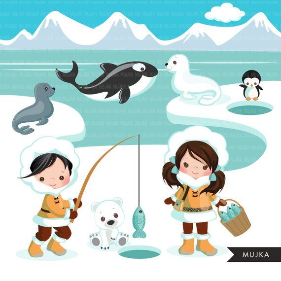 Arctic animals clipart. Cute winter animals, igloo, whale.