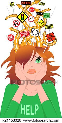 Teenager with ADHD Clipart.