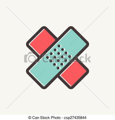 EPS Vector of Adhesive bandage thin line icon.