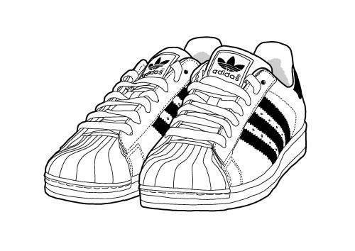 Line Drawing Shoes : Adidas clipart clipground