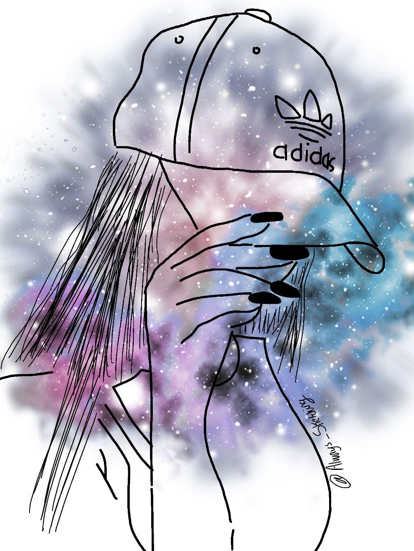 tumblr sketched galaxy adidas freetoedit hat hand girl.
