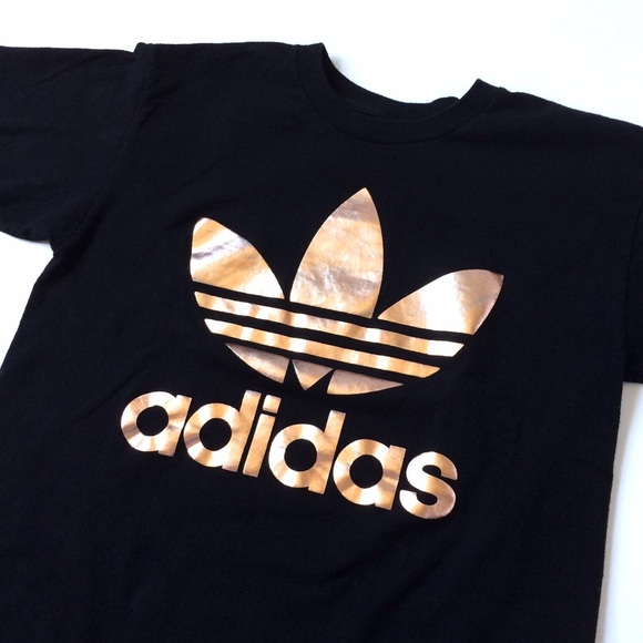 Adidas Rose Gold Double Logo Tee.