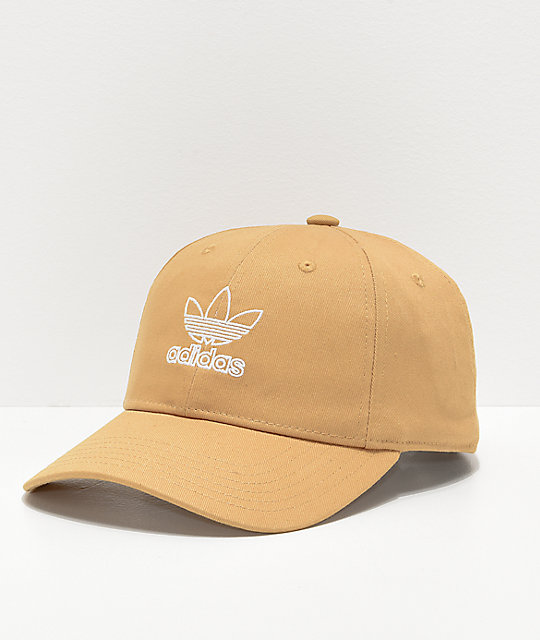 adidas Women\'s Relaxed Outline Logo Gold Strapback Hat.
