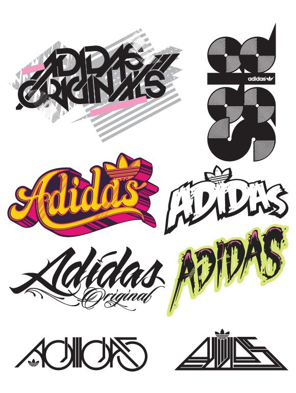 Adidas Typography Graphic Hydro74 Art Design Brand Logo in.