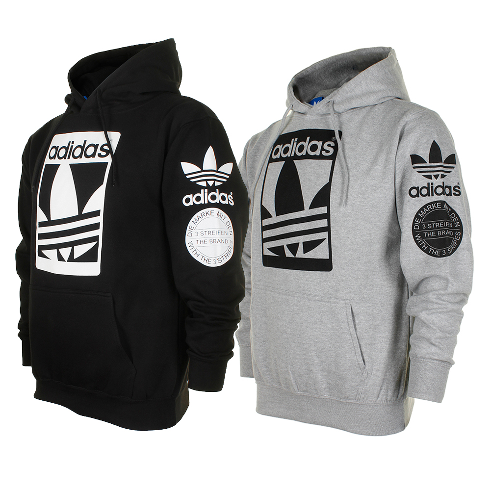 Details about adidas Men\'s Original Trefoil Street Graphic Front Pocket  Hoodie.