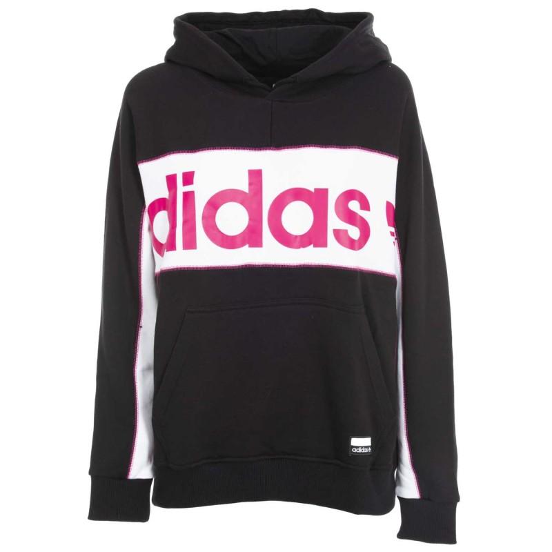 Hooded sweatshirt with pink logo.