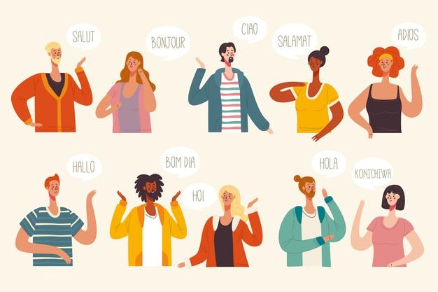 Illustration concept with multiple languages conversations.