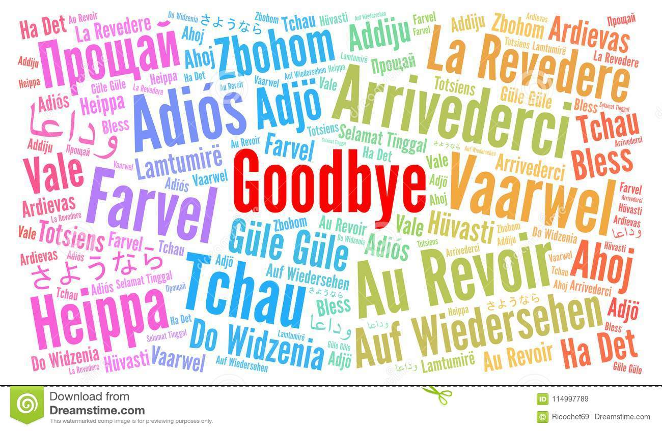 Goodbye In Different Languages Word Cloud Stock Illustration.